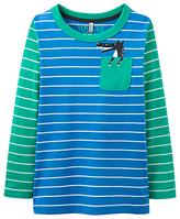 Joules Little Joule Boys' Peeker Wolf Pocket T-Shirt, Blue
