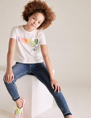 Marks and Spencer Pure Cotton Snoopy Funday Slogan T-Shirt (6-14 Yrs)