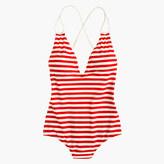 J.Crew Braided deep-V one-piece swimsuit in classic stripe
