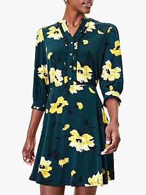 Oasis Fauna Ruffle Floral Shirt Dress, Deep Green