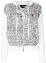 Karl Lagerfeld bouclé panel zip hoodie