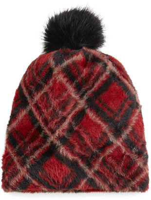 Pia Rossini Rubi Tartan Faux-Fur Beanie with Pompom