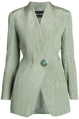 Giorgio Armani Plisse Silk Single Breasted Jacket