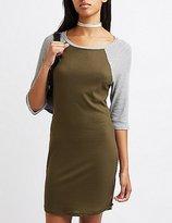 Charlotte Russe Waffle Knit Raglan T-Shirt Dress