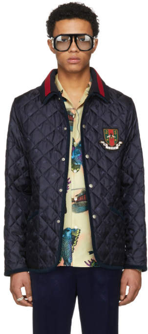 Gucci Blue Bee Quilted Jacket