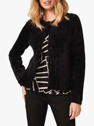 Phase Eight Reece Fluffy Button Up Jacket, Black