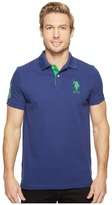 U.S. Polo Assn. Slim Fit Solid Polo w/ Contrast Striped Underside of Collar