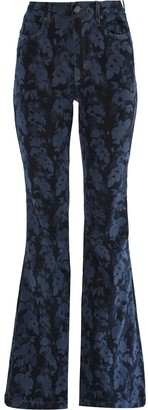 Nicole Miller Floral-Print Bell-Bottom Jeans