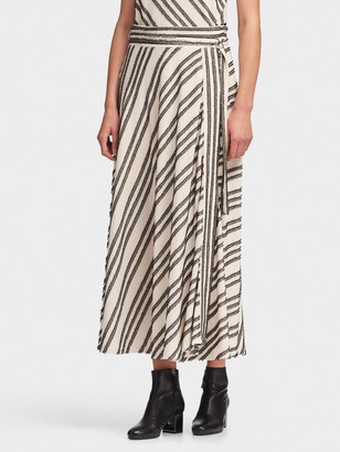 DKNY Women's Striped Midi Skirt - Natural/Black - Size 2
