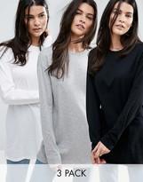 Asos Long Sleeve Longline T-Shirt 3 Pack