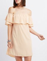 Charlotte Russe Tiered Off-The-Shoulder Shift Dress