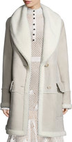 Derek Lam Shearling-Lined Two-Button Coat, Taupe
