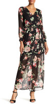 Amy Byer A. BYER Long Sleeve Floral Surplus Maxi Dress