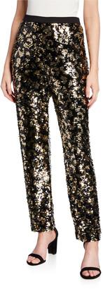 Joan Vass Petite Animal Sequin Pants