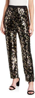 Joan Vass Petite Animal Sequin Pants