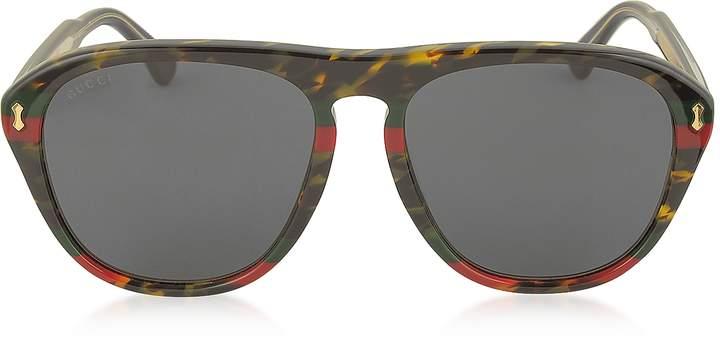 Gucci GG0128S 003 Havana and Red/Green Acetate Aviator Men's Sunglasses