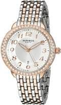 Akribos XXIV Women's AK831TTR Round Radiant Sunburst Center Dial Quartz Two Tone Bracelet Watch