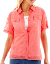 Alfred Dunner Paradise Island Short-Sleeve Solid Burnout Layered Shirt