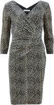 Gina Bacconi Skin stretch velour v neck wrap dress