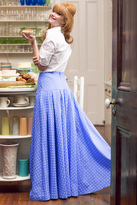 Shabby Apple Southern Belle Maxi Skirt Blue
