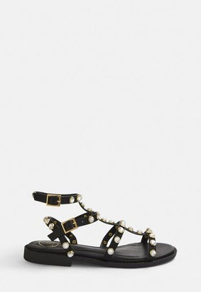 Missguided Black Jewel Stud Gladiator Sandals