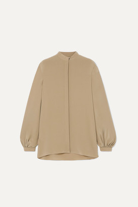 The Row Vara Oversized Silk Crepe De Chine Blouse - Army green