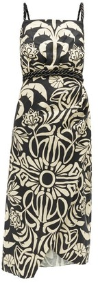 Johanna Ortiz Stylised Muse Floral-print Linen-blend Midi Dress - Cream Multi