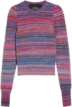 Marc Jacobs Metallic Striped Rib-Trimmed Jumper