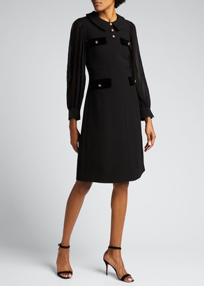 Rickie Freeman For Teri Jon Pleated-Sleeve Collared Wool Crepe Dress