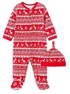 Little Me Boys' Cotton Holiday Footie & Hat Set - Baby