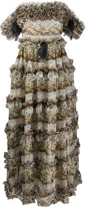 Giambattista Valli Floral-Print Ruffled Silk Gown