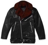 Cmmn Swdn Alec Shearling-trimmed Leather Biker Jacket - Black