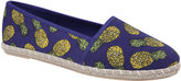Yours Clothing Blue Pineapple Print Canvas Espadrille Pump In EEE Fit