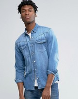 Pull&Bear Western Denim Shirt In Mid Wash Blue In Regular Fit