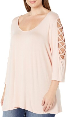 Rebel Wilson X Angels Women's Plus Size Laced Shoulder Detail Top