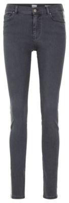 BOSS Slim-fit grey stretch-denim jeans with side-seam stripe