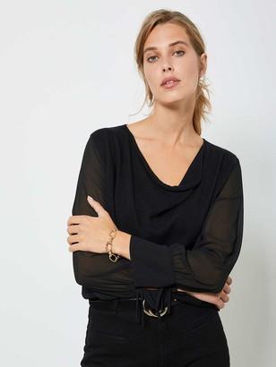 Mint Velvet Cowl Woven Sleeve Jumper - Black