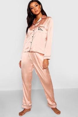 boohoo Zzz Satin Button Through Pants Pyjama Set