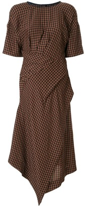 AKIRA NAKA asymmetric checked pattern dress