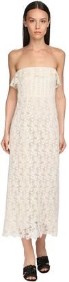 Brock Collection Strapless Cotton Blend Lace Midi Dress