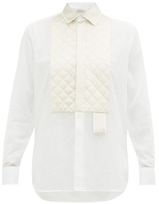 Bottega Veneta Quilted Satin-yoke Cotton Shirt - White Multi