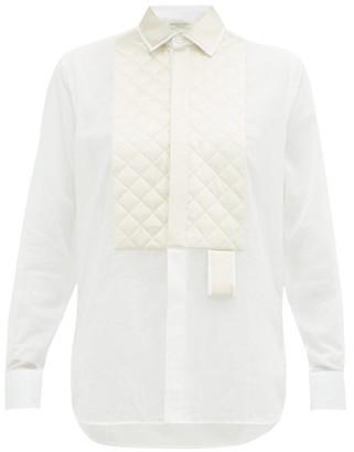 Bottega Veneta Quilted Satin-yoke Cotton Shirt - Womens - White Multi