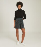 Thumbnail for your product : Reiss Skyla - Printed Mini Skirt in Green
