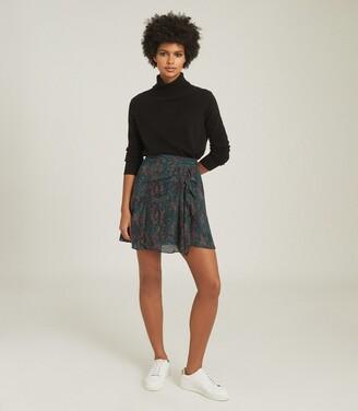 Reiss Skyla - Printed Mini Skirt in Green