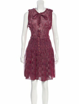Chanel Printed Knee-Length Dress Pink