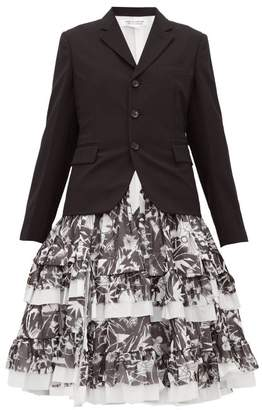 Comme des Garcons Printed Skirt Panelled Wool Blazer - Womens - Black White