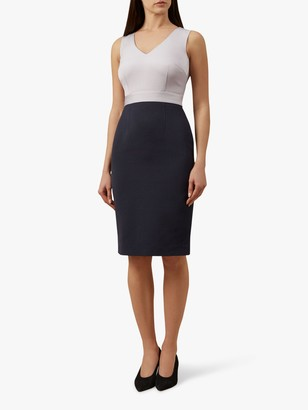 Hobbs Laurie Tailored Dress, Lavender Cream/Navy
