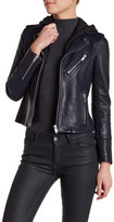 Doma Smooth Texture Hooded Leather Jacket