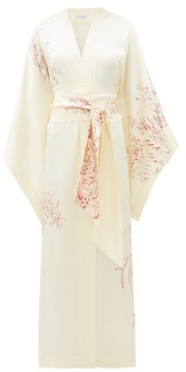 Carine Gilson Floral-print Silk-satin Robe - Womens - White Print