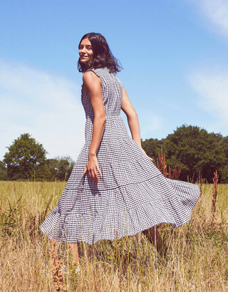 Under Armour Gingham Tiered Midi Dress in Organic Cotton Black